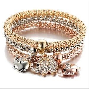 ❤️gorgeous 3pcs gold silver rose gold elephant
